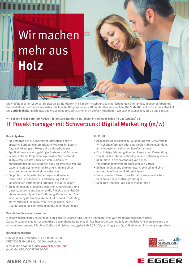 IT Projektmanager mit Schwerpunkt Digital Marketing  (m/w)