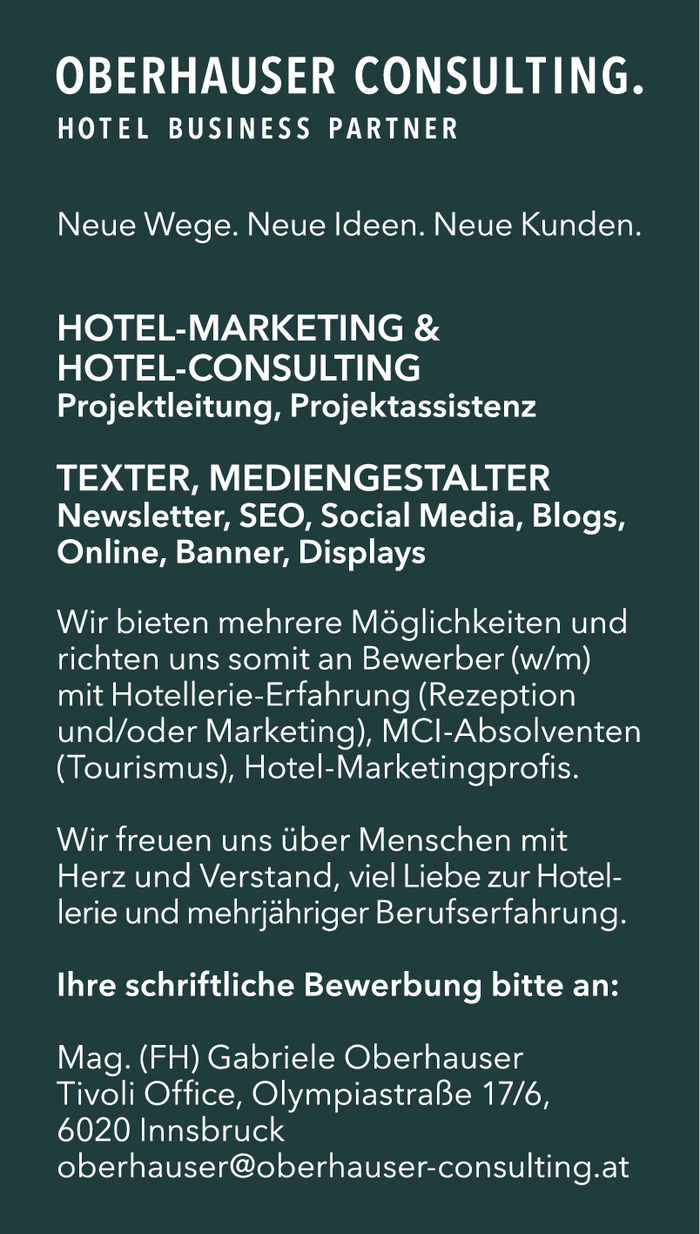 HOTEL-MARKETING &  HOTEL-CONSULTING sowie TEXTER, MEDIENGESTALTER (M/W)