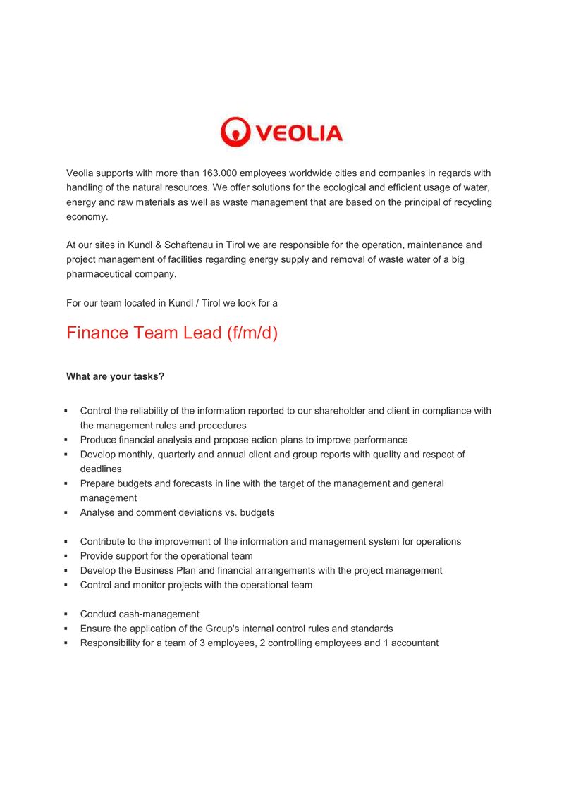 Finance Team Lead (f/m/d)