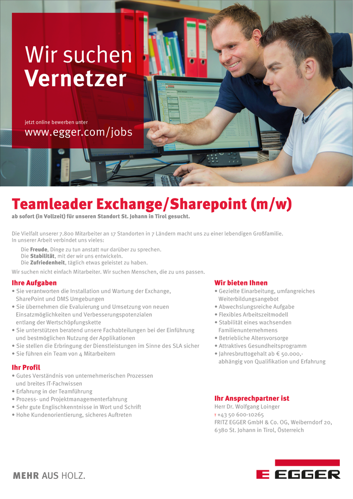 Teamleader Exchange/Sharepoint (m/w)