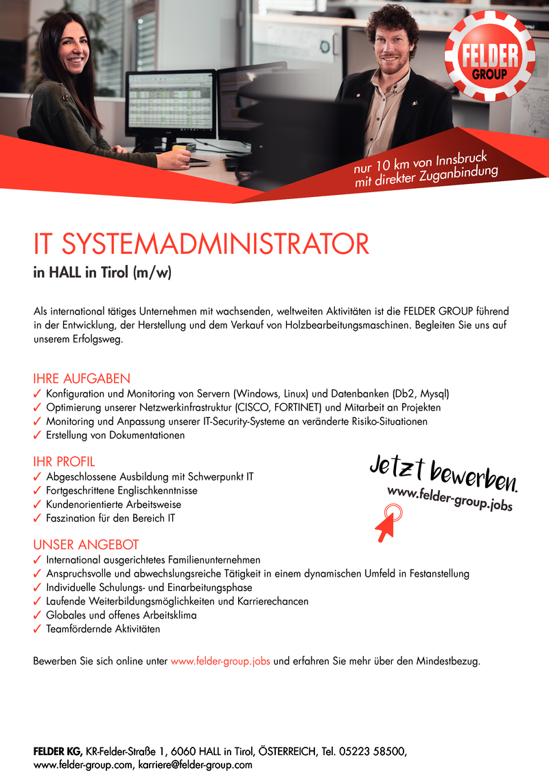 IT SYSTEMADMINISTRATOR in HALL in TIROL (m/w)