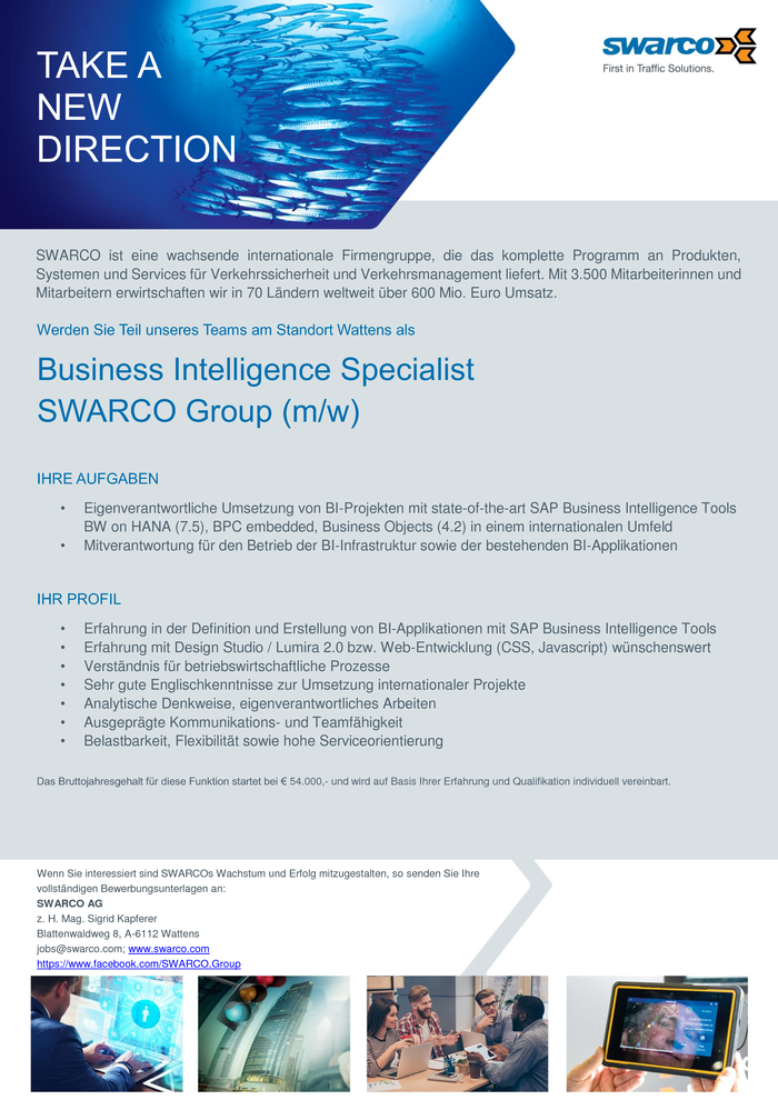 Business Intelligence Specialist (m/w) SWARCO Group