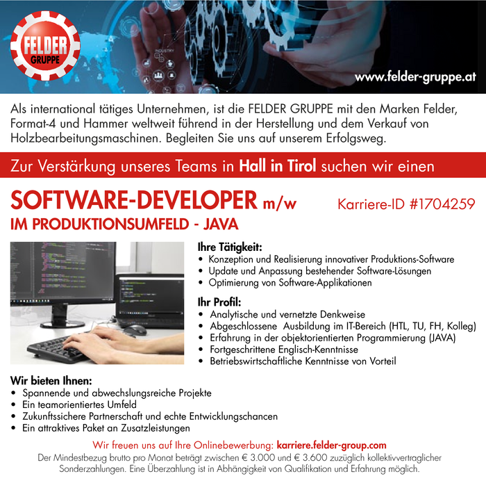 SOFTWARE-DEVELOPER m/w IM PRODUKTIONSUMFELD - JAVA