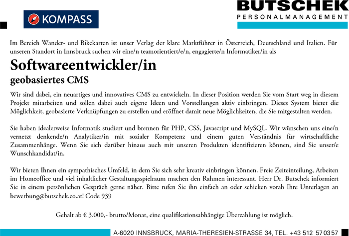 Softwareentwickler/in  geobasiertes CMS