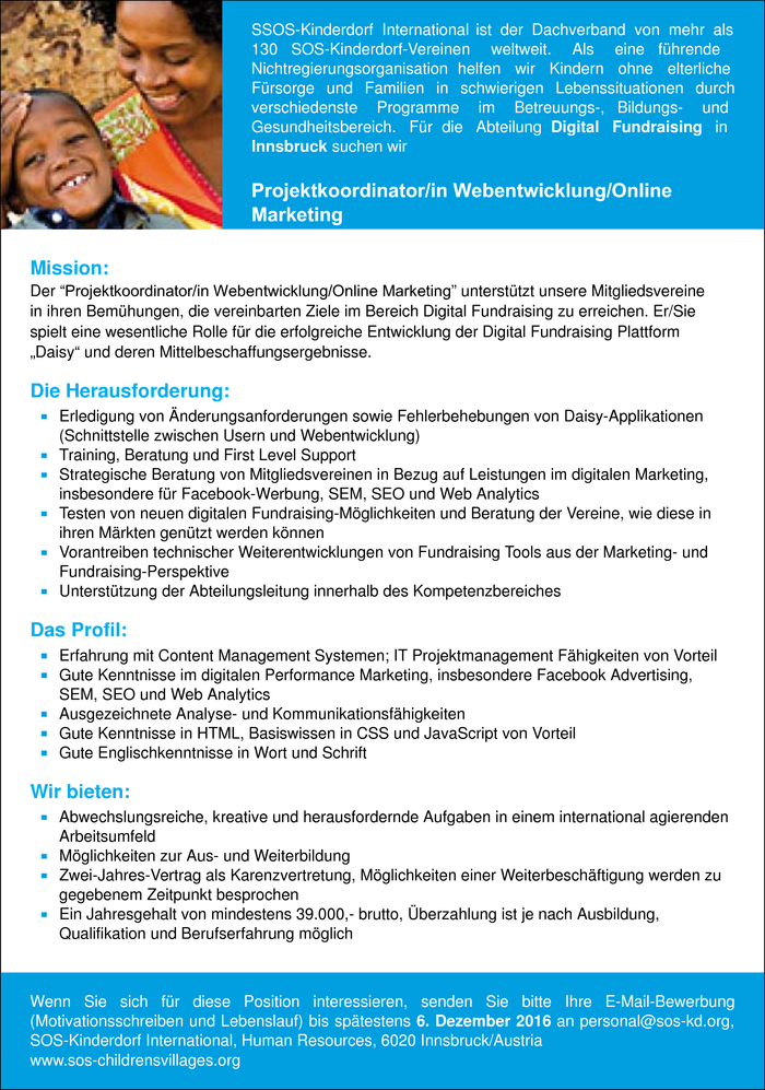 Projektkoordinator/in Webentwicklung/Online Marketing