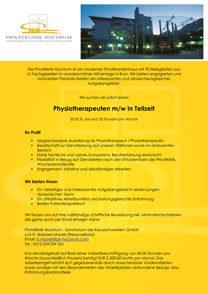 Physiotherapeut/in in Teilzeit