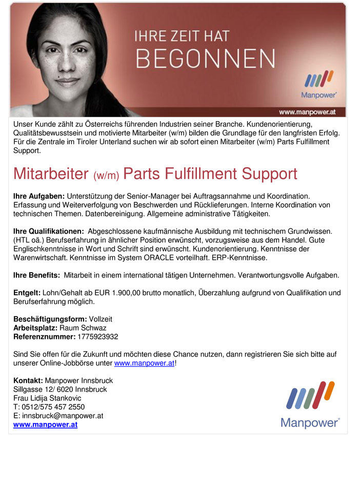 Mitarbeiter (w/m) Parts Fulfillment Support