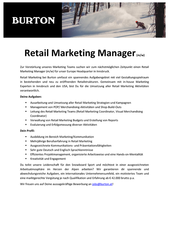 Retail Marketing Manager (m/w)