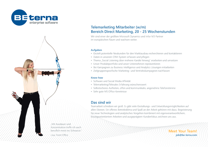 Telemarketing Mitarbeiter (w/m), Bereich Direct Marketing, 20 - 25 Wochenstunden