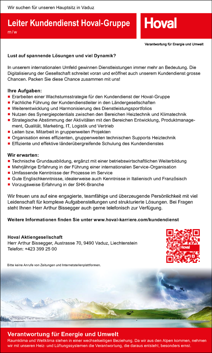 Leiter Kundendienst Hoval-Gruppe m / w