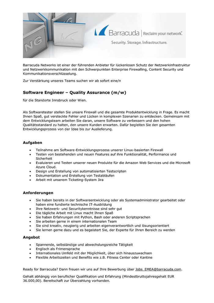 Software Engineer - Quality Assurance (m/w)