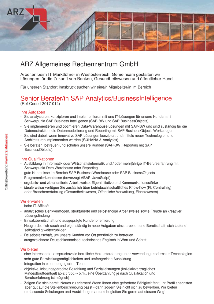 Senior Berater/in SAP Analytics/Business Intelligence
