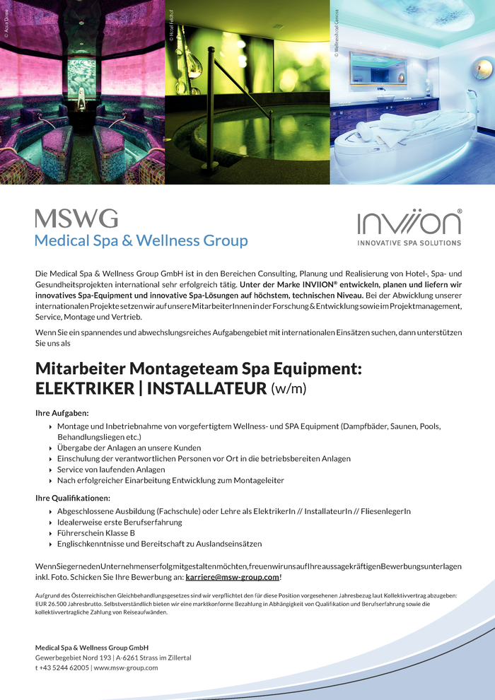 Elektriker | Installateur für Montageteam SPA Equipment