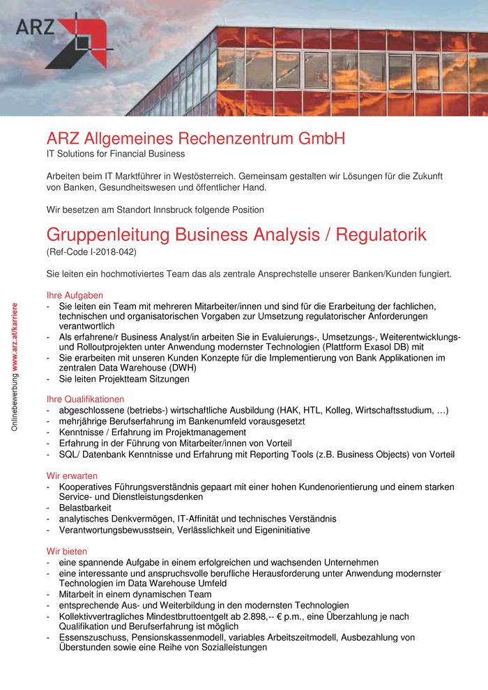 Gruppenleitung Business Analysis / Regulatorik