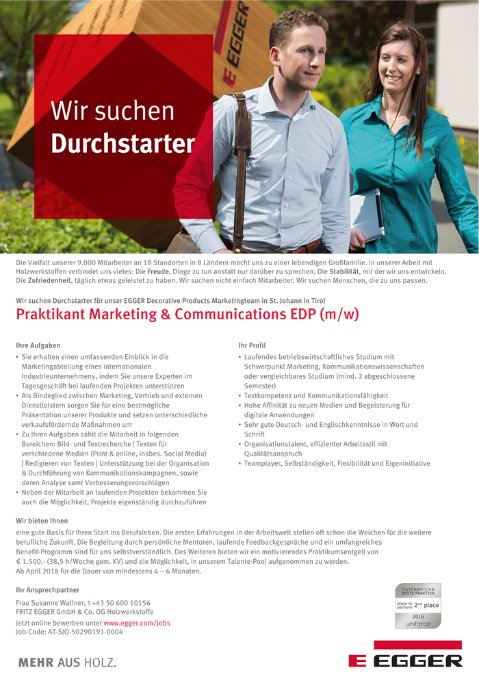 Praktikant Marketing & Communications EDP (m/w)