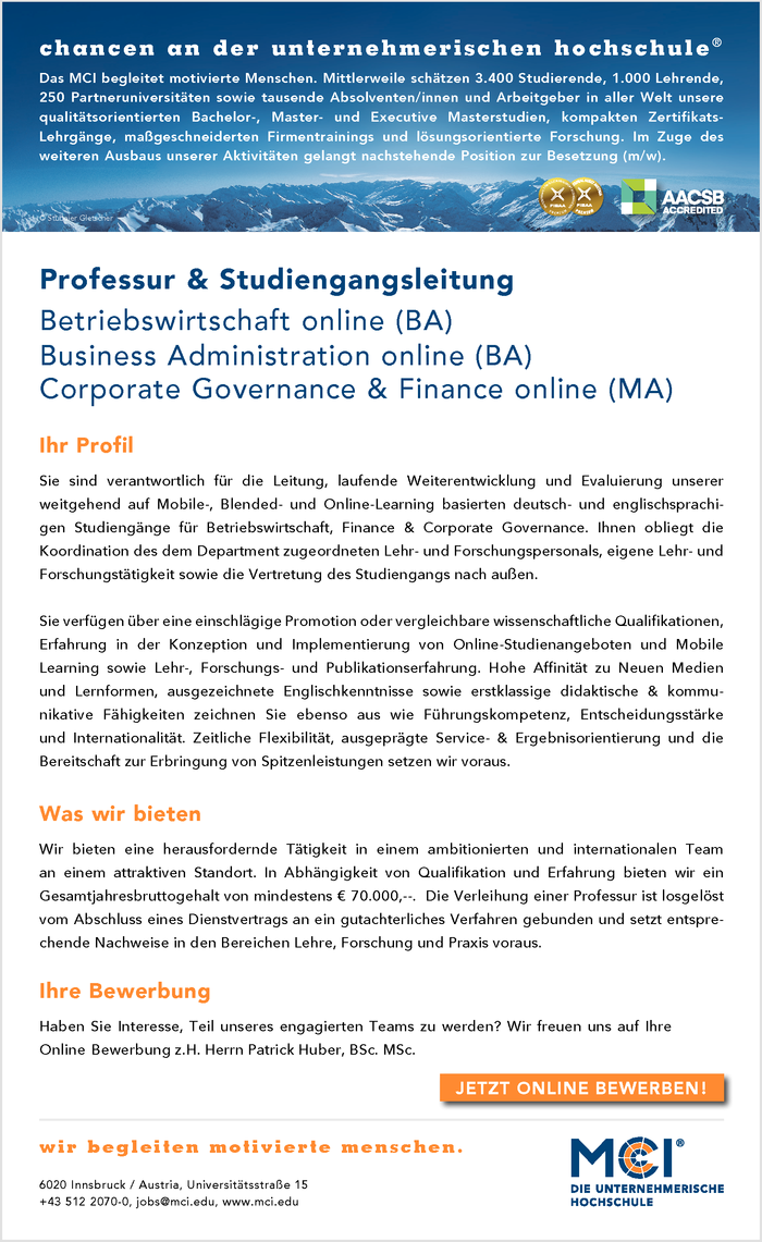 Professur & Studiengangsleitung - Betriebswirtschaft online (BA) | Business Administration online (BA) | Corporate Governance & Finance online (MA)