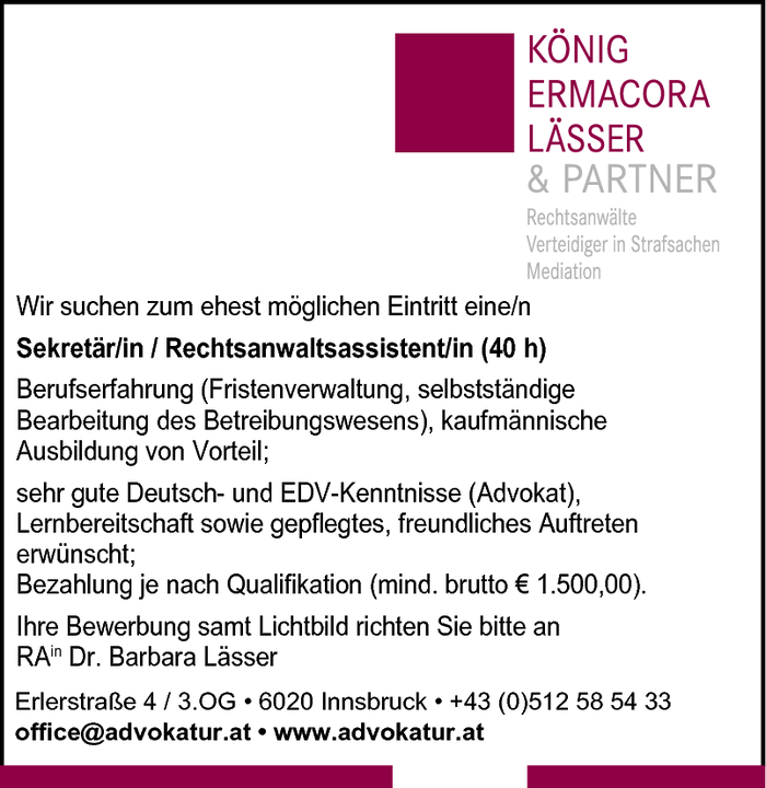Sekretär/in / Rechtsanwaltsassistent/in (40 h)