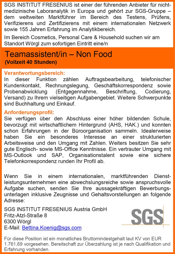 Teamassistent/in – Non Food