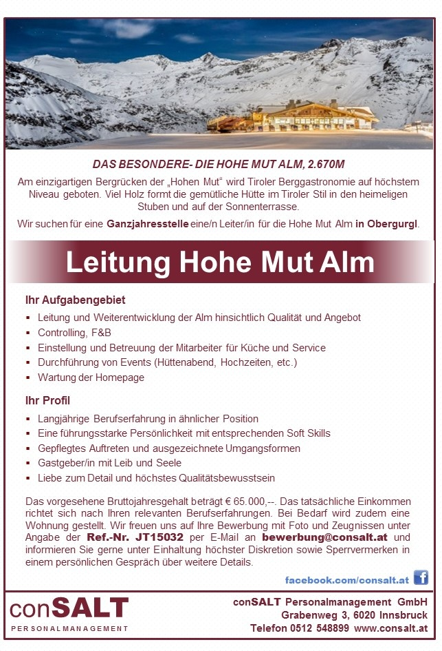 Leitung Hohe Mut Alm