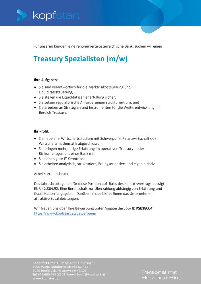 Treasury Experte Im Bezirk Innsbruck Stadt Bewirb Dich Auf Offene