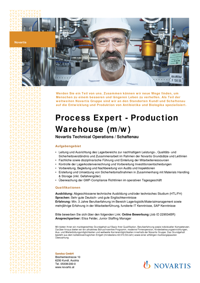 Process Expert - Production Warehouse (m/w)