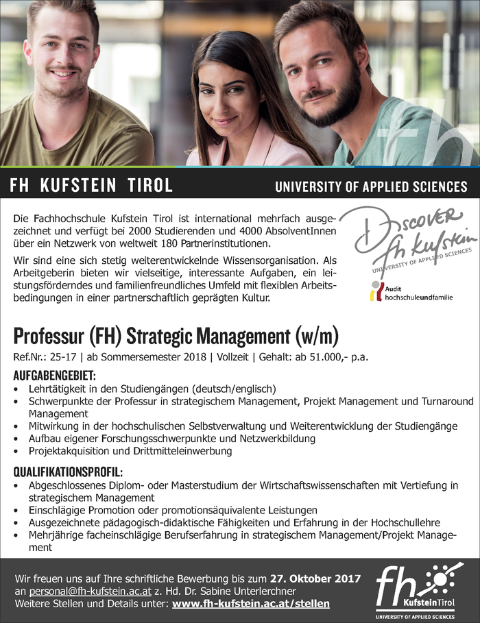 Professur (FH) Strategic Management (w/m)