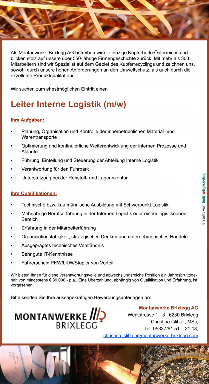 Leiter Interne Logistik (m/w)