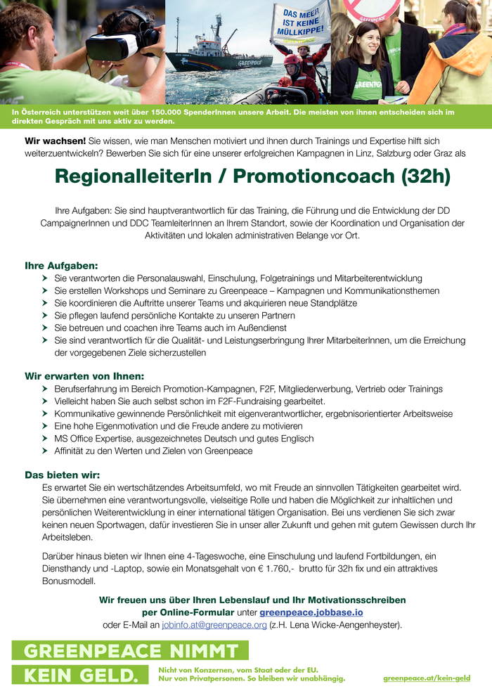 RegionalleiterIn / Promotioncoach (32h)