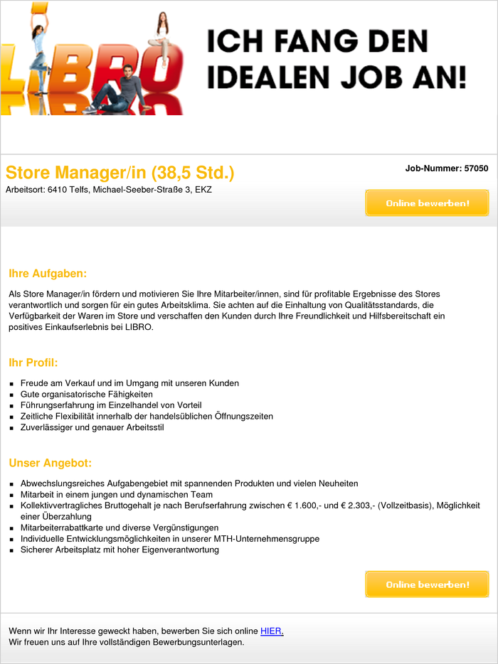 Store Manager/in
