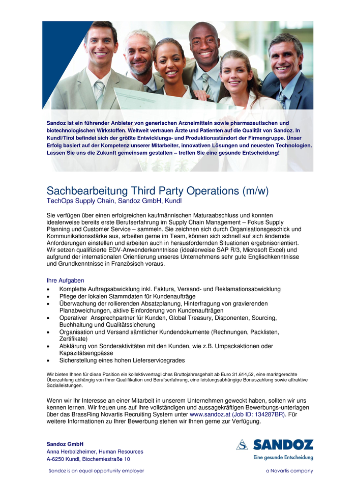 Sachbearbeitung Third Party Operations (m/w)