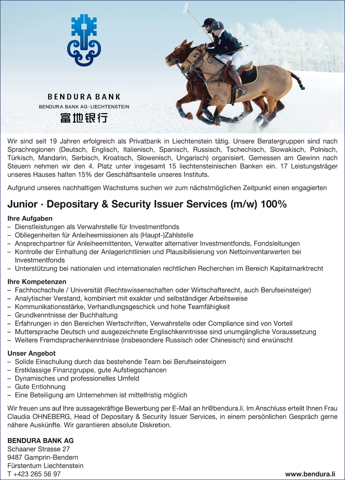 Junior · Depositary & Security Issuer Services (m/w)