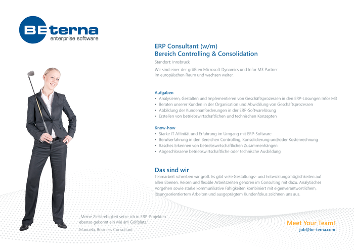 ERP Consultant (w/m), Bereich Controlling & Consolidation