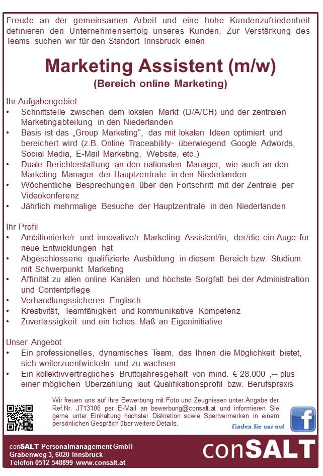 Marketing Assistent/in (Bereich online Marketing)