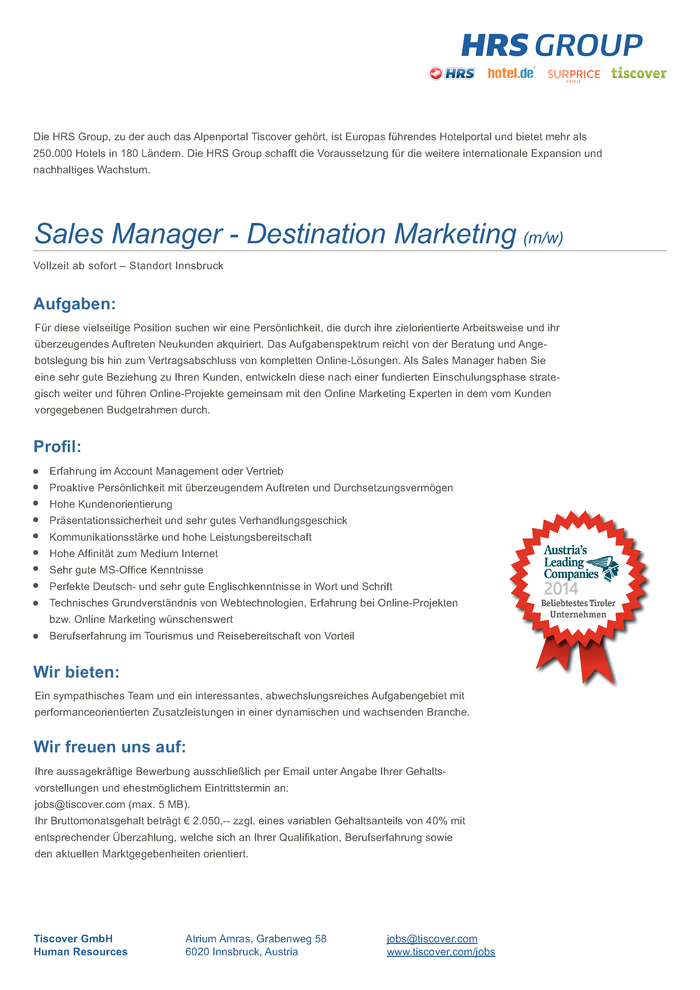Sales Manager - Destination Marketing m/w