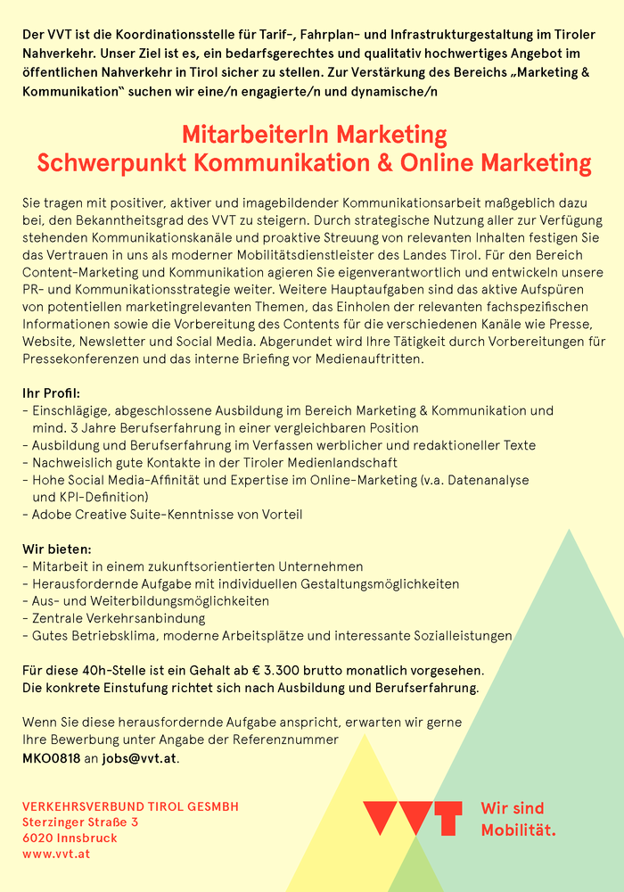 MitarbeiterIn Marketing Schwerpunkt Kommunikation & Online Marketing