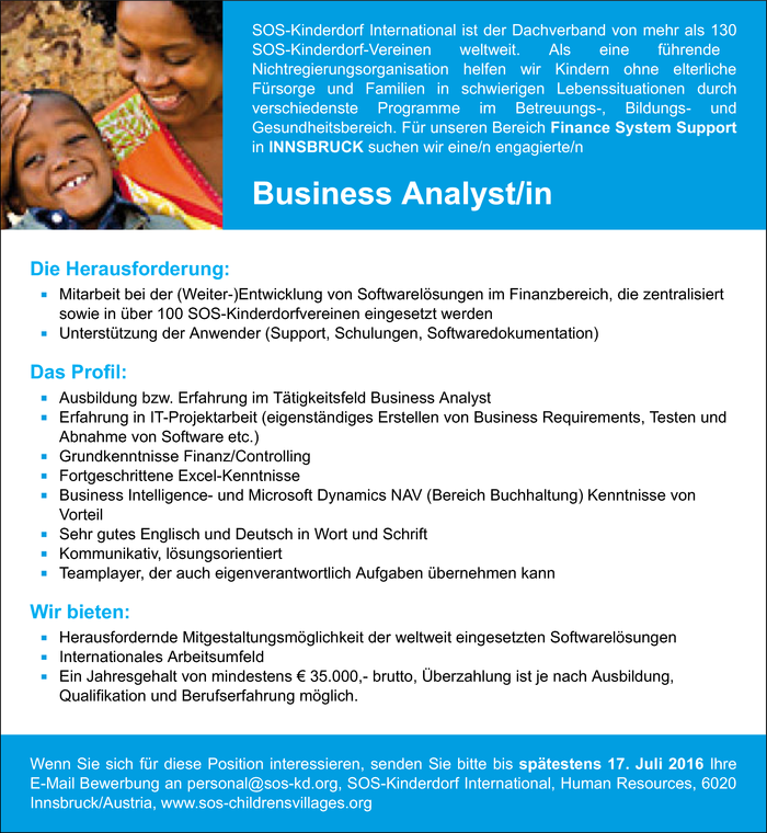 Business Analyst/in