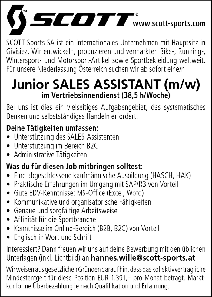 Junior SALES ASSISTANT (m/w)