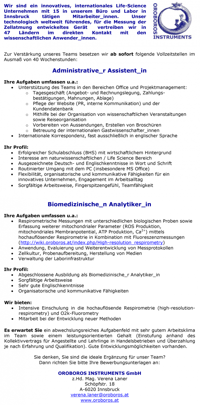 Administrative_r Assistent in & Biomedizinische_n Analytiker _in