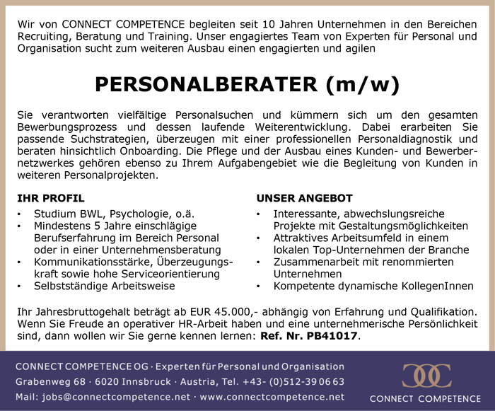 PERSONALBERATER (m/w)