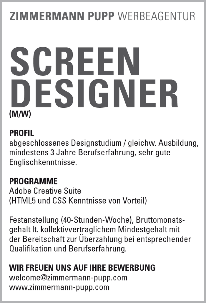 SCREEN  DESIGNER (M/W)