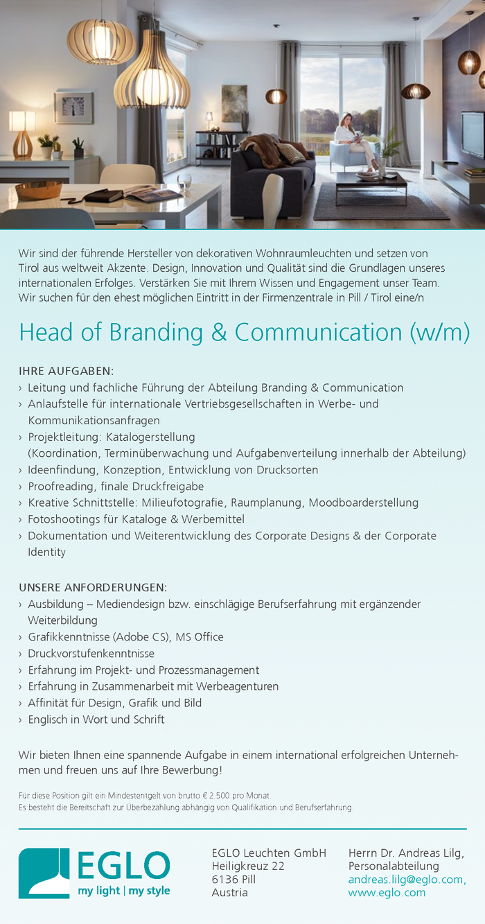 Head of Branding & Communication (w/m)