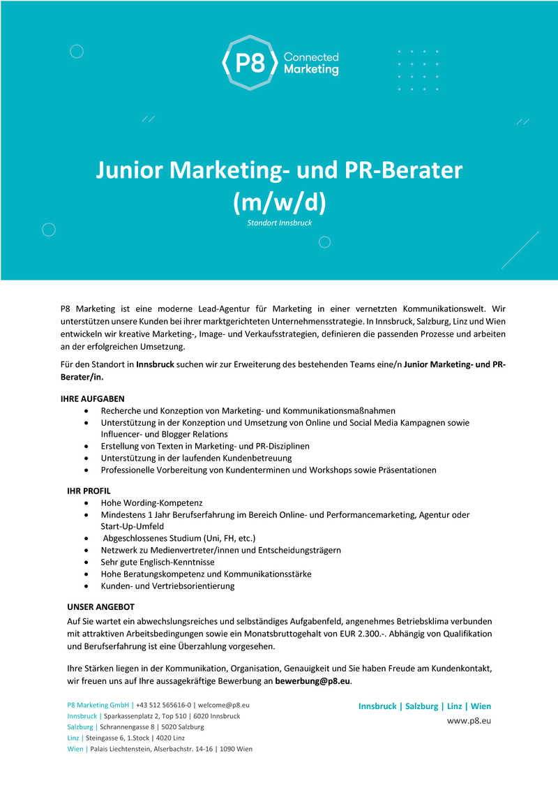 Junior Marketing- und PR-Berater (m/w/d)