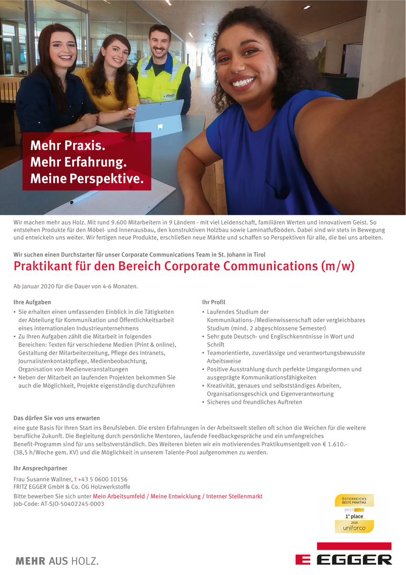 Praktikant für den Bereich Corporate Communications (m/w)
