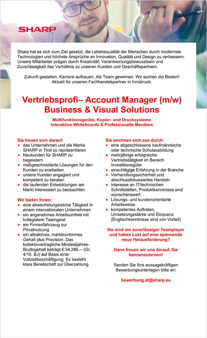 Vertriebsprofi– Account Manager (m/w) Business & Visual Solutions