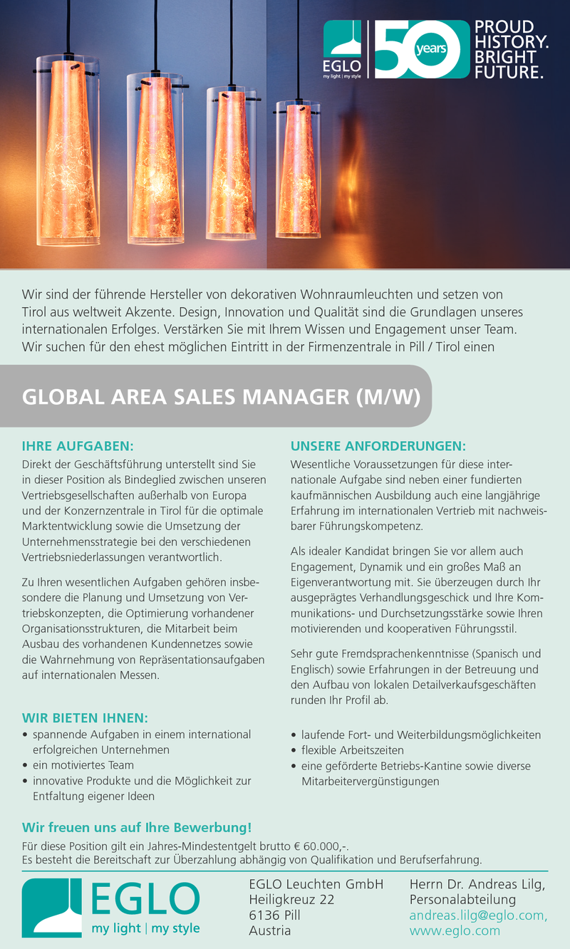 Global Area Sales Manager (m/w)