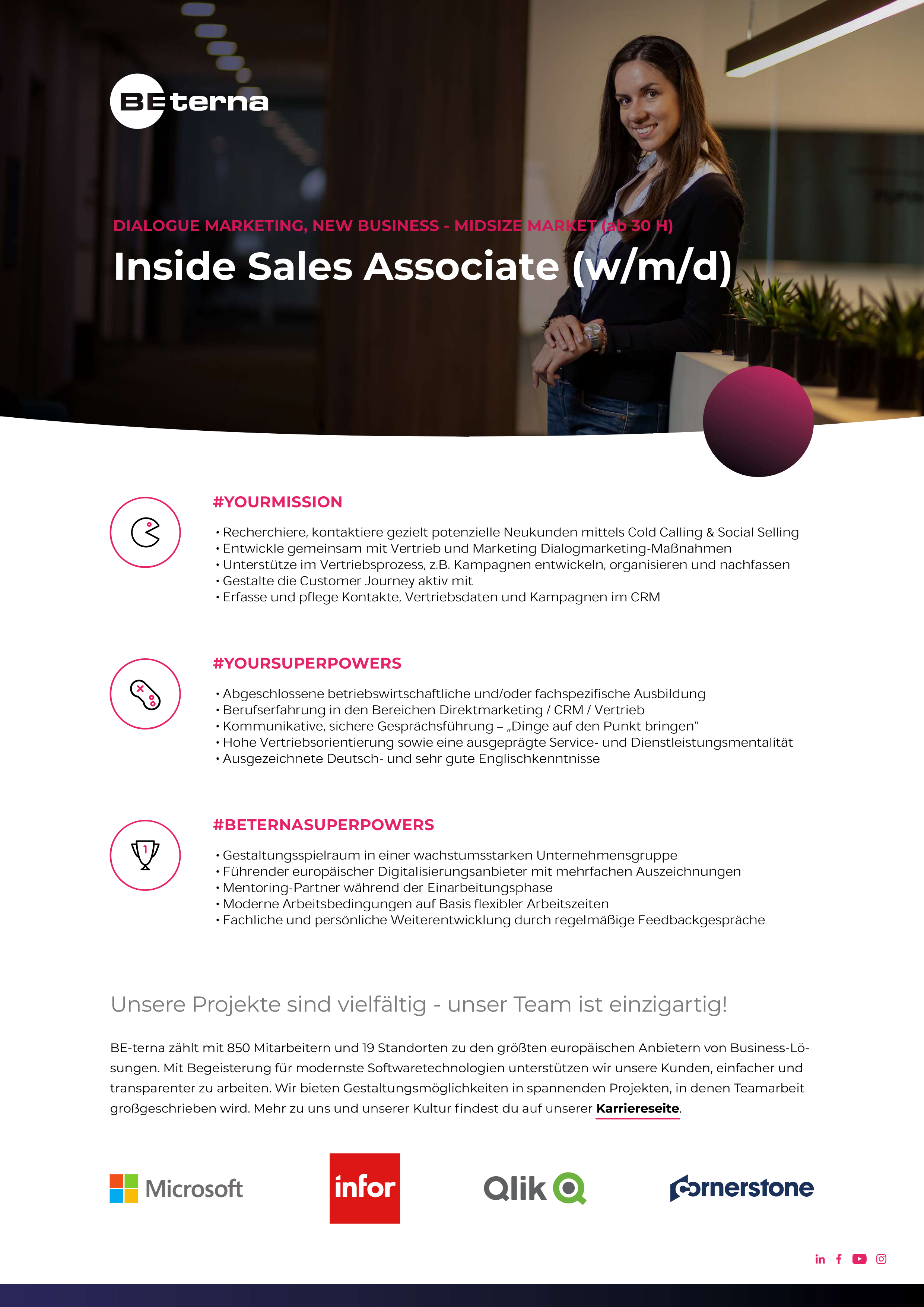 Inside Sales Mitarbeiter (w/m/d) New Business, Midsize Market (ab 30 h)