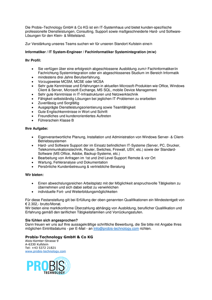 Informatiker / IT System-Engineer / Fachinformatiker Systemintegration (m/w)
