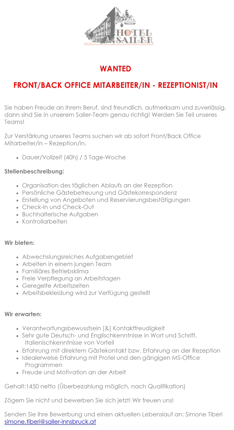 Front/Back Office Mitarbeiter(in) - Rezeptionist(in)
