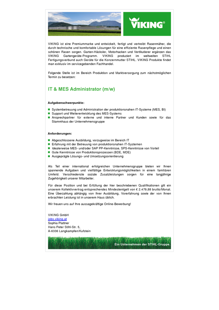 IT & MES Administrator (m/w)