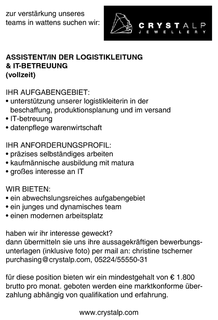 ASSISTENT/IN DER LOGISTIKLEITUNG & IT-BETREUUNG